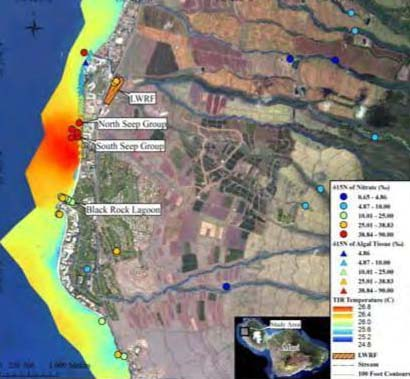 ES-6: Infrared SST showing values of terestrial and marine waters, and the intertidal macroalgae. Image courtesy Tracer Study report conducted by UH for state DOH, and US EPA. Access to report provided by Earthjustice.